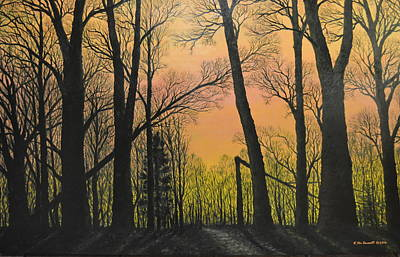 December Dusk - Northern Hardwoods Art Print