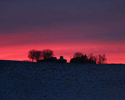 Photograph - December Farm Sunset by Kathy M Krause