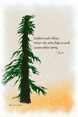 Haiku Wall Art - Digital Art - December Haiku With Drawing by Kae Cheatham
