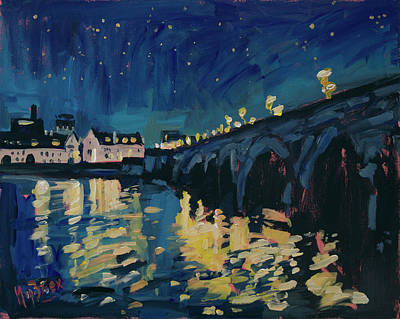 Painting - December Lights At The Old Bridge by Nop Briex