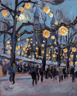 Impressionist Painting - December Lights At The Our Lady Square Maastricht 1 by Nop Briex