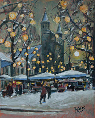 Nederland Painting - December Lights At The Our Lady Square Maastricht 2 by Nop Briex