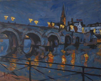 Sint Servaasbrug Painting - December Lights Old Bridge Maastricht Acryl by Nop Briex