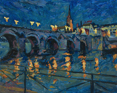 Wyck Painting - December Lights Old Bridge Maastricht by Nop Briex