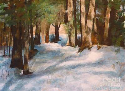 December Snow Path Art Print by Claire Gagnon