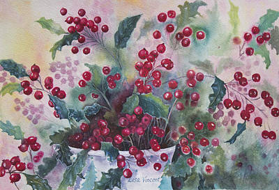 Painting - December's Holly by Lisa Vincent