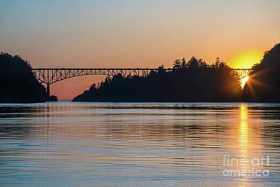 Whidbey Wall Art - Photograph - Deception Pass Bridge Sunset Sunstar by Mike Reid