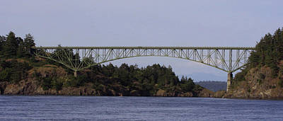 Deception Pass Brige Pano Art Print by Mary Gaines
