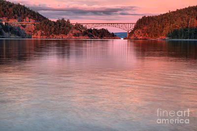 Photograph - Deception Pass Pink Skies by Adam Jewell