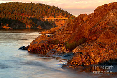 Whidbey Island Wa Photograph - Deception Pass Sunset Glow by Adam Jewell
