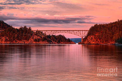 Photograph - Deception Pass Sunset Reflections by Adam Jewell