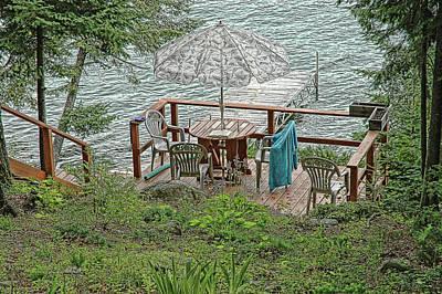 Deck At Blue Sea Lake Art Print by Ginette Thibault