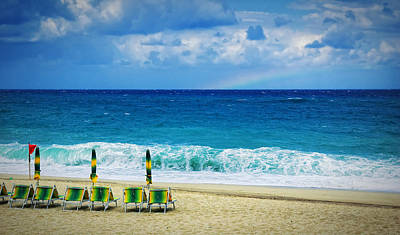 Photograph - Deck Chairs And Distant Rainbow by Silvia Ganora