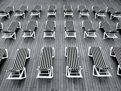 Empty Chairs Mixed Media - Deck Chairs by Michel Le
