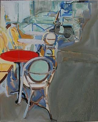 Empty Chairs Painting - Deck Empty by Zan Doan