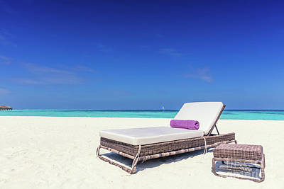 Destination Photograph - Deckchair On Sandy Tropical Beacha A Small Island Resort In Maldives, Indian Ocean by Michal Bednarek