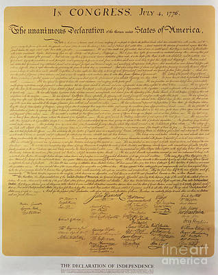 Declaration Of Independence Art Print by American School