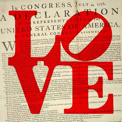 Independence Art Mixed Media - Declaration Of Independence Love by Brandi Fitzgerald