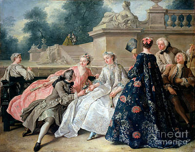 Silk Painting - Declaration Of Love by Jean Francois de Troy