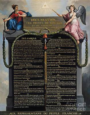 Declaration Of The Rights Of Man And Citizen Art Print by French School