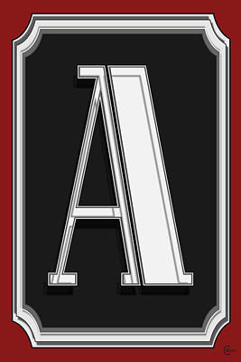 Retro Look Painting - Deco Cafe Marquee  Monogram  Letter A by Cecely Bloom