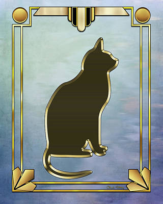 Digital Art - Deco Cat 2 by Chuck Staley