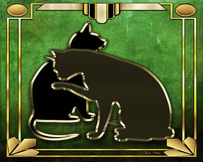 Digital Art - Deco Cats - Emerald by Chuck Staley