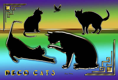 Digital Art - Deco Cats Group by Chuck Staley