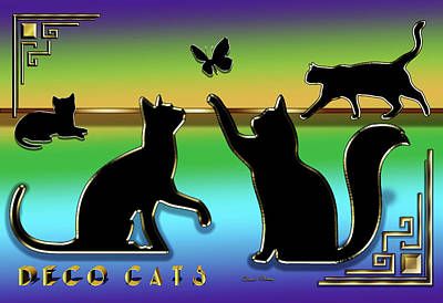 Digital Art - Deco Cats - Group Two by Chuck Staley