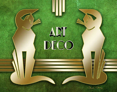 Digital Art - Deco Cats On Green Marble by Chuck Staley