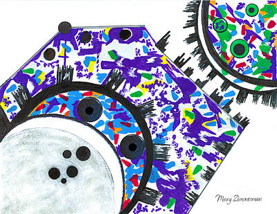 Drawing - Deco Cogs by Mary Zimmerman