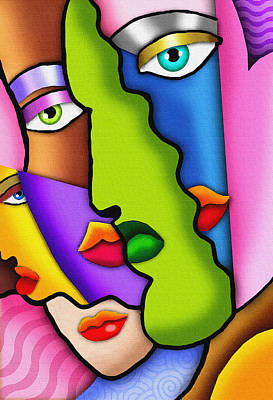 Painting - Deco Faces by Dt