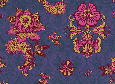 Quilted Tapestries Painting - Deco Flower Purple by JQ Licensing