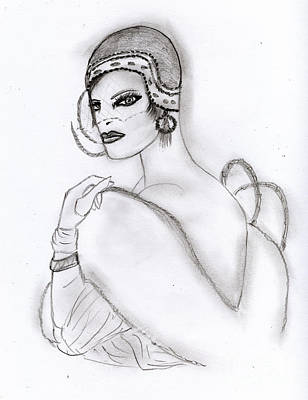 Drawing - Deco Girl by Sonya Chalmers