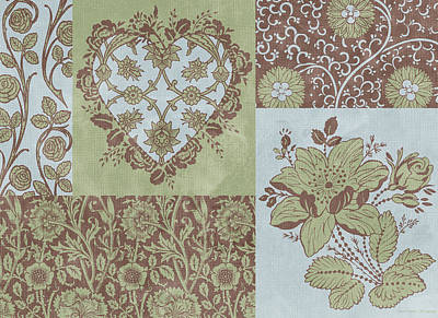 Quilted Tapestries Painting - Deco Heart Sage by JQ Licensing