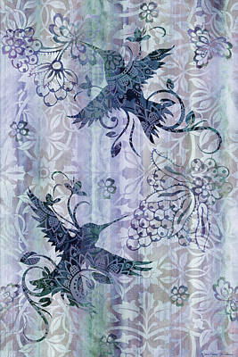 Quilted Tapestries Painting - Deco Hummingbird Blue by JQ Licensing
