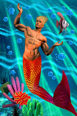 Deco Merman 2 Art Print