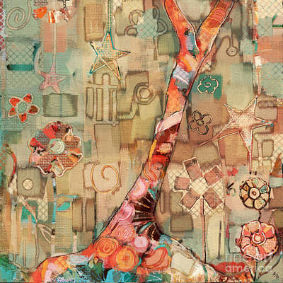 Fabric Collage Painting - Deco Tree by Carrie Joy Byrnes