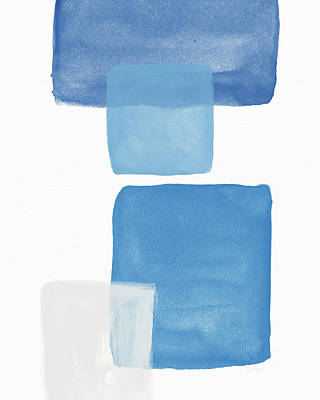 Modern Abstract Mixed Media - Deconstructed Blue Gingham 1- Art By Linda Woods by Linda Woods