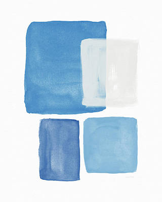Modern Abstract Mixed Media - Deconstructed Blue Gingham 2- Art By Linda Woods by Linda Woods