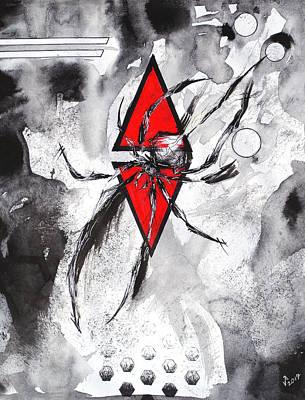 Black Widow Drawing - Deconstruction Tickles by Jessie Pancheau