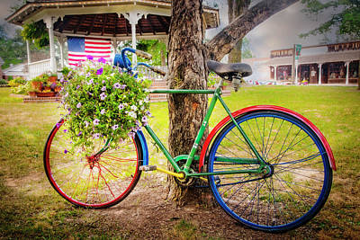 Photograph - Decorated Bicycle In The Park by Debra and Dave Vanderlaan