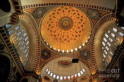 Decorated Dome And Windows Inside The Suleymaniye Mosque In Istanbul Art Print by Sami Sarkis