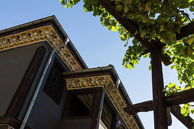 Decorated Eaves And Grapes Trellis - Old Town Plovdiv Bulgaria Art Print by Georgia Mizuleva