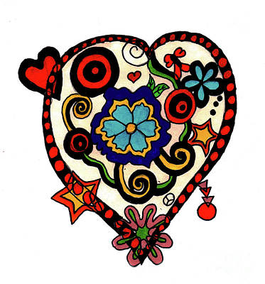 Drawing - Decorated Heart by Christine Perry