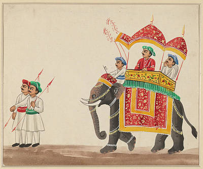 Animals Drawings - Decorated Indian Elephant with a Canopied Howdah by VintageArtAssociates