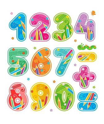 Nine To Five Digital Art - Decorated Numbers Set by Natalia Ratselmeister