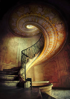 Spiral Staircase Photograph - Decorated Spiral Staircase  by Jaroslaw Blaminsky