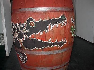 Wine Barrel Mixed Media - Decorated Wine Barrel For Downtown Walla Walla by Lila Witt Locati