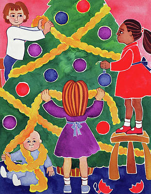 Decorating The Christmas Tree Art Print by Cathy Baxter